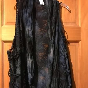 Shades of blue women's long drape vest